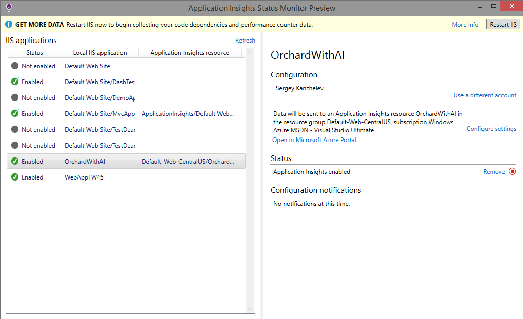 """enable application insights for web site"""